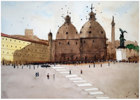 Cityscape Watercolor Art Painting title 'Rome Italy' by artist Arunava Ray