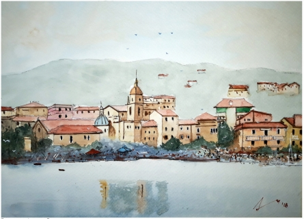 Cityscape Watercolor Art Painting title 'San Terenzo Liguia Italy' by artist Arunava Ray