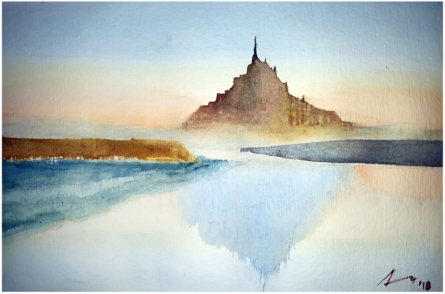 Cityscape Watercolor Art Painting title 'St Mont Michel Normandy France' by artist Arunava Ray