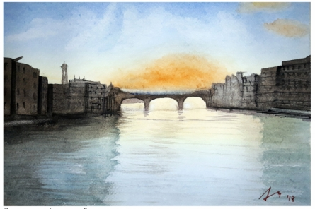 Cityscape Watercolor Art Painting title 'The Bridge' by artist Arunava Ray