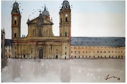 Cityscape Watercolor Art Painting title 'Theatine Church Munich Germany' by artist Arunava Ray
