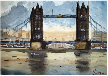 Cityscape Watercolor Art Painting title 'Tower Bridge London' by artist Arunava Ray