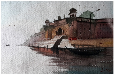 Cityscape Watercolor Art Painting title 'Varanasi Ghat' by artist Arunava Ray