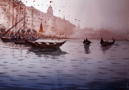 Cityscape Watercolor Art Painting title 'Varanasi Ghat 1' by artist Arunava Ray