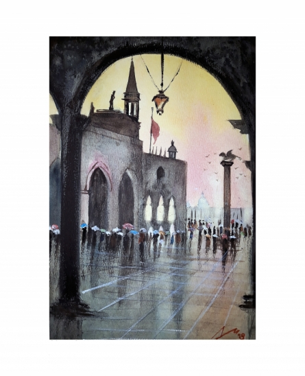 Cityscape Watercolor Art Painting title 'Venice' by artist Arunava Ray