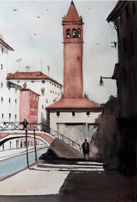 Cityscape Watercolor Art Painting title 'Venice Italy' by artist Arunava Ray