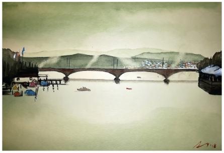 Cityscape Watercolor Art Painting title Zurich Switzerland by artist Arunava Ray