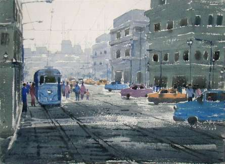 Cityscape Watercolor Art Painting title 'Foggy Morning' by artist Jiaur Rahman