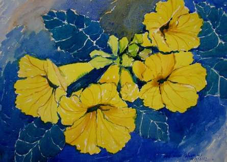 Nature Watercolor Art Painting title 'Yellow Flower' by artist Jiaur Rahman
