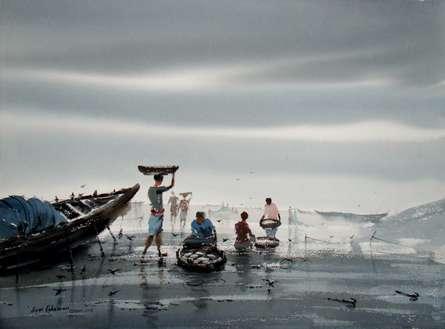 Cityscape Watercolor Art Painting title Fishing by artist Jiaur Rahman