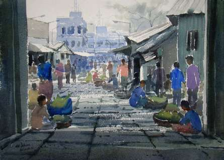 Market | Painting by artist Jiaur Rahman | watercolor | Paper