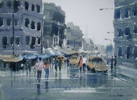 Cityscape Watercolor Art Painting title 'Rainy Day' by artist Jiaur Rahman