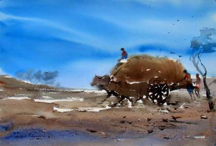 Storm And The Dusty Path | Painting by artist Jiaur Rahman | watercolor | Paper