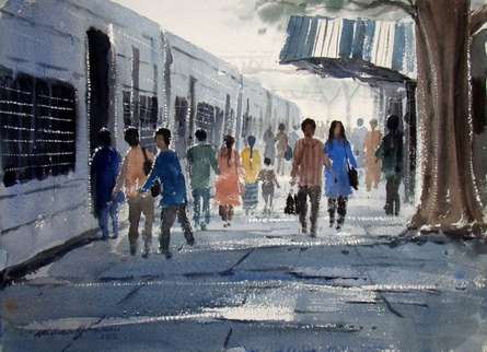 Figurative Watercolor Art Painting title Life Journey by artist Jiaur Rahman