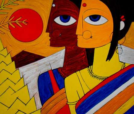 Figurative Acrylic Art Painting title 'Tribal Women' by artist Jiaur Rahman