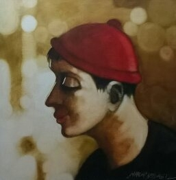 Figurative Oil Art Painting title 'Boy in red cap' by artist SHANKAR KENDALE