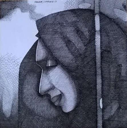 Figurative Pen-ink Art Drawing title 'Palloo' by artist SHANKAR KENDALE