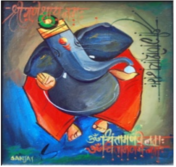 Other Acrylic Art Painting title 'Ganesha019' by artist Sanjay Raut
