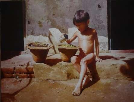 Childhood 2 | Painting by artist Raghunath Sahoo | watercolor | Paper