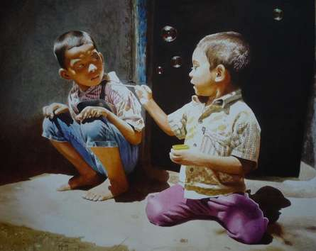 Figurative Watercolor Art Painting title 'Play' by artist Raghunath Sahoo