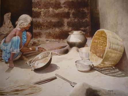 Figurative Watercolor Art Painting title 'Still Life 4' by artist Raghunath Sahoo