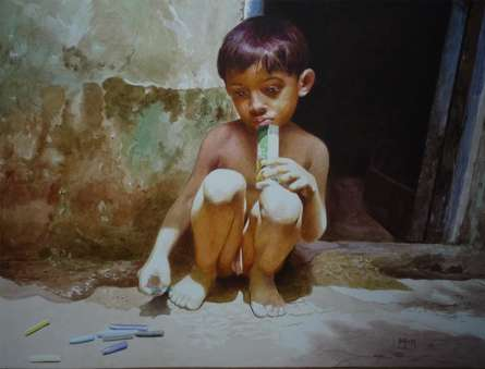 Raghunath Sahoo | Watercolor Painting title Childhood on Paper | Artist Raghunath Sahoo Gallery | ArtZolo.com