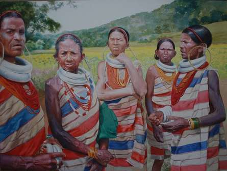 Figurative Watercolor Art Painting title 'Tribal' by artist Raghunath Sahoo