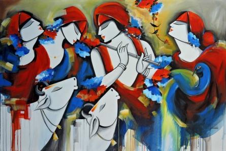 Figurative Acrylic Art Painting title Melody by artist Pradeesh K Raman