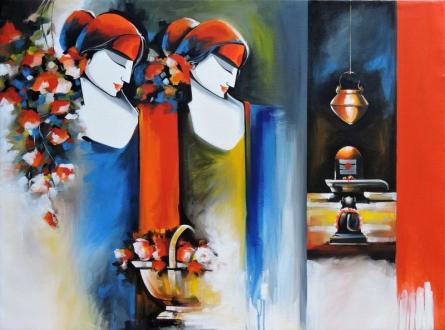 Figurative Acrylic Art Painting title Love of god by artist Pradeesh K Raman