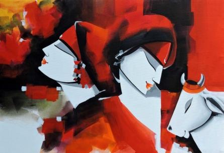 Figurative Acrylic Art Painting title Colours of love by artist Pradeesh K Raman