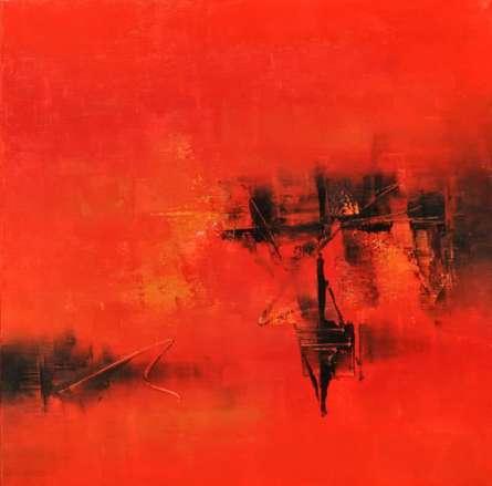 Raju Durshettiwar Paintings | Acrylic Painting title Rad ' Red I by artist Raju Durshettiwar | ArtZolo.com