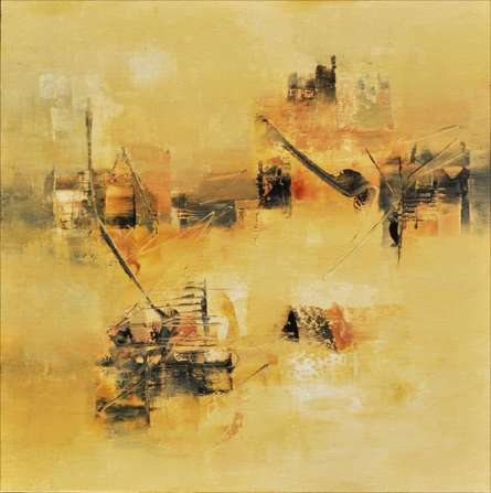Abstract Acrylic Art Painting title 'Subtle Ochre' by artist Raju Durshettiwar