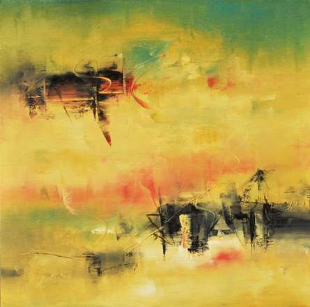 Ochre ' Pink | Painting by artist Raju Durshettiwar | acrylic | Canvas