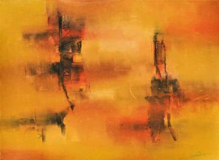 Abstract Acrylic Art Painting title 'Pastoral Ochre' by artist Raju Durshettiwar
