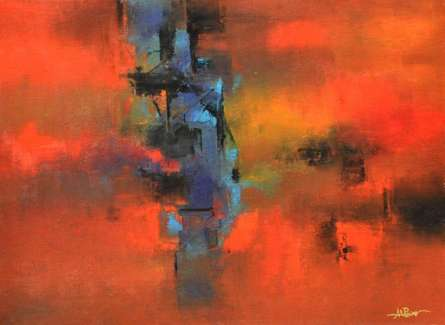 Abstract Acrylic Art Painting title 'Seizing Blue' by artist Raju Durshettiwar