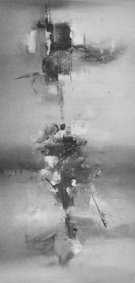 Black White II | Painting by artist Raju Durshettiwar | acrylic | Canvas