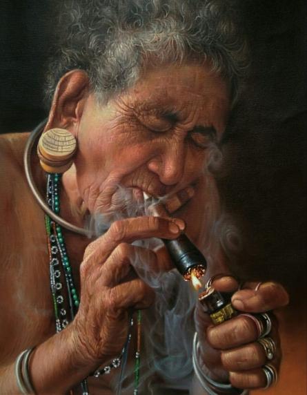 Portrait Oil Art Painting title 'The Smoker' by artist Balwinder Singh