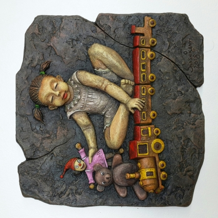 Shashikant Charbe | Girls Playing With Toys Mixed media by artist Shashikant Charbe on Fiberglass On Board | ArtZolo.com