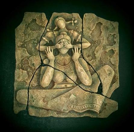 Shashikant Charbe | Hide And Seek Mixed media by artist Shashikant Charbe on Ceramic On Board | ArtZolo.com