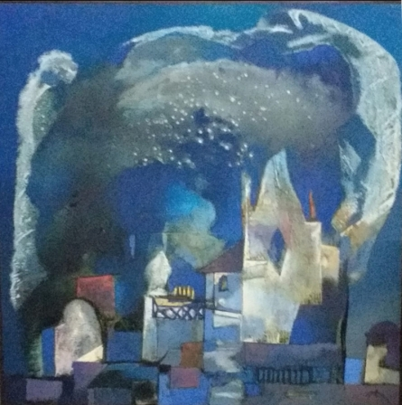 Cityscape Oil Art Painting title 'Structure 3' by artist Somenath Maity