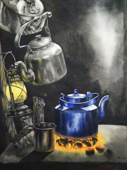 Still-life Watercolor Art Painting title 'Tea Time' by artist Saikat Maity