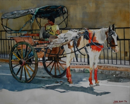 Lifestyle Watercolor Art Painting title 'HORSECART' by artist Dr.uday Bhan