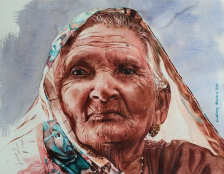 Portrait Watercolor Art Painting title Old lady by artist Dr Uday Bhan