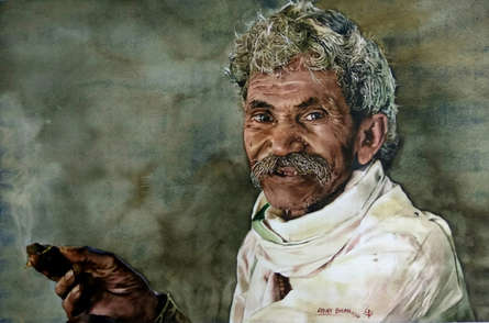 Portrait Watercolor Art Painting title 'Toothless smile' by artist Dr Uday Bhan