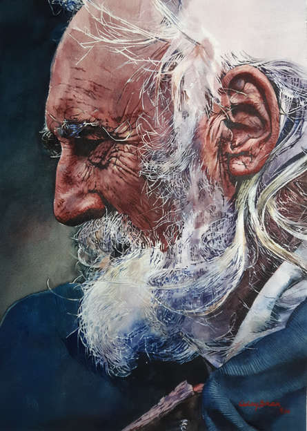 Portrait Watercolor Art Painting title 'Old man' by artist Dr Uday Bhan