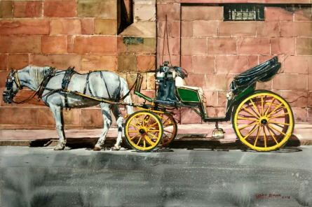 Cityscape Watercolor Art Painting title 'Horse cart' by artist Dr Uday Bhan