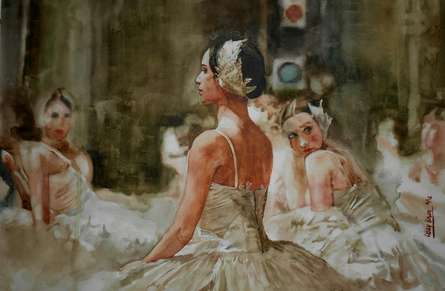 Ballet Dancer | Painting by artist Dr.uday Bhan | watercolor | Paper