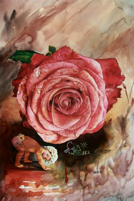 Childhood | Painting by artist Dr.uday Bhan | watercolor | Canson paper