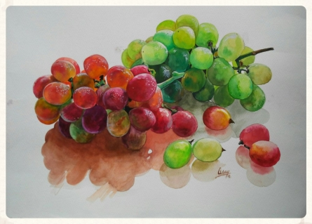 Dr.uday Bhan | Watercolor Painting title Grapes on Paper | Artist Dr.uday Bhan Gallery | ArtZolo.com