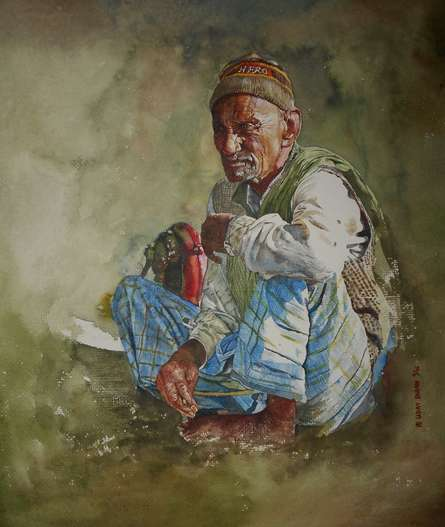Dr.uday Bhan | Watercolor Painting title Hero on paper | Artist Dr.uday Bhan Gallery | ArtZolo.com